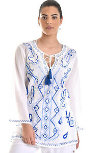 Azucar-Ladies-Cotton-Embroidered-Summer-Beach-Long-Sleeve-Tunic-Blouse-LCB866
