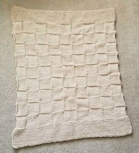 Handmade-Knit-Hand-Knitted-Checkered-Throw-Blanket-Afghan-Small-Squares-Beige
