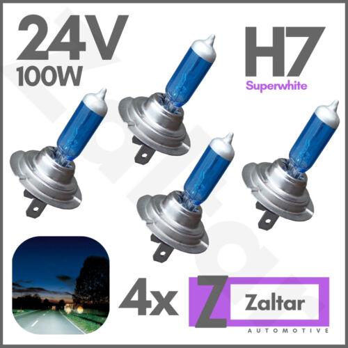 4 X H7 100w 24v 499 Mercedes Atego Actros Mp2 Truck Xenon 24 Volt White Bulbs
