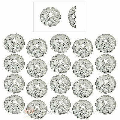 20 Piece Sterling Silver Plated 7mm Fancy Domed Bead Cap Jewelry Necklace Caps