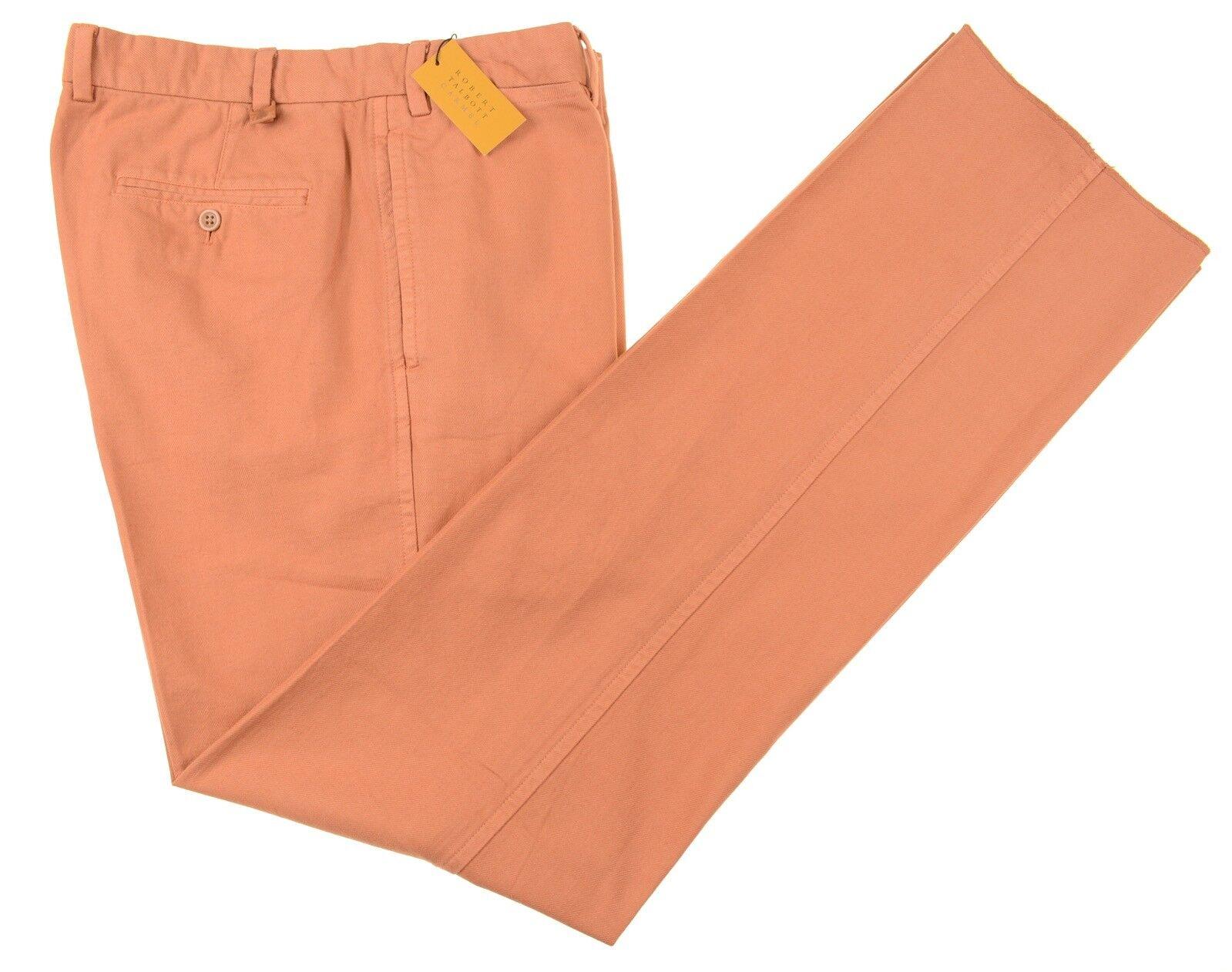 NWT Robert Talbott Carmel Burnt orange Brushed Twill Cotton Casual Pants 36 NEW