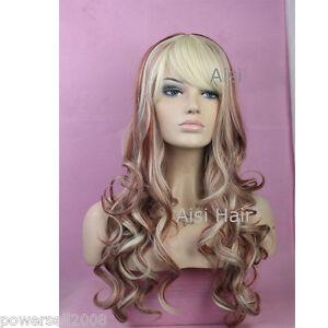 European-Style-Simple-Beautiful-Long-Curly-Hair-Fringe-Girls-Women-Wigs-E-7