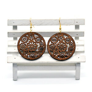 Pair-of-Brown-Wooden-Round-Flowers-Earrings-5cm-Ethnic-African-Style-Jewellery