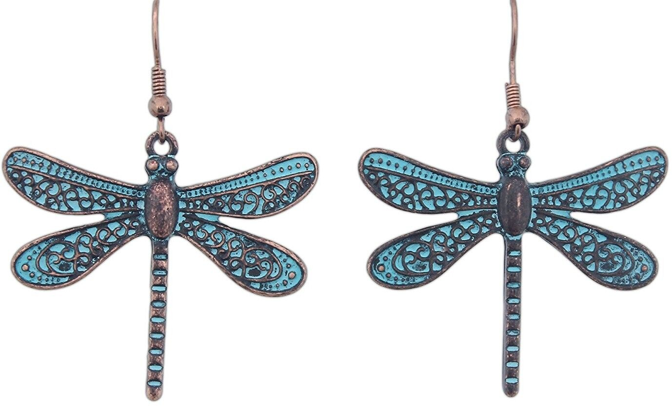 Rain 2' Copper Turquoise Patina-Style Dragonfly Earrings