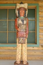 5' Cigar Store Wooden Indian Red Coat Chief Native Made in USA by F Gallagher