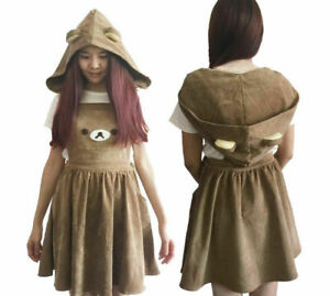 Cute-Brown-Rilakkuma-Bear-Cosplay-Costume-Kawaii-Overall-Skirt-Lolita-Dress