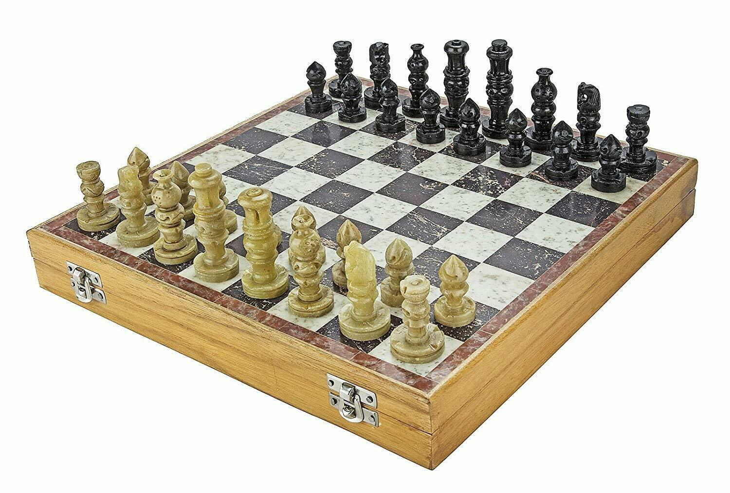Marble Soapstone Chess Board Game (Multicolour, 12-inch) Collectible Item