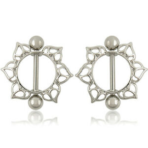 Pair Flower Nipple Shield Bar Ring Body Jewellery Nipple Piercing ... 8844a09a68c8