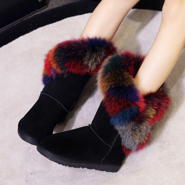 Europea Winter Warm Shoes Women's Vogue Colored Faux Fox Fur Trim Mid-Calf Boots