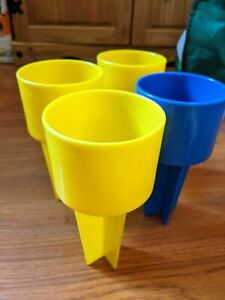 Lot of 4 Spiker DRINK HOLDER Beach Sand Beverage Container Set Yellow Blue EUC