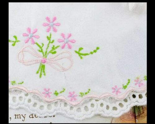BIB BURP CLOTH VINTAGE LACE-BABY GIRL EMBROIDERED-IVORY PINK WHITE-CHRISTENING
