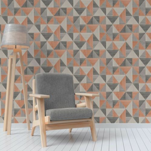 APEX ORANGE GREY WOODGRAIN TRIANGLE GEOMETRIC WALLPAPER FINE DECOR FD42225