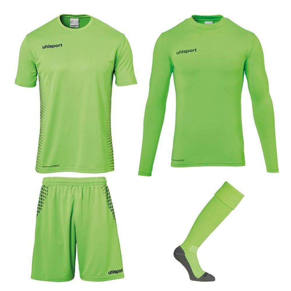 Uhlsport Score Torwart Set Kinder Fußball Trikot Hose Baselayer Stutzen grün    Sale Online