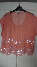 Beautiful New Look mesh embellished beads top size UK 12 EU 40 party