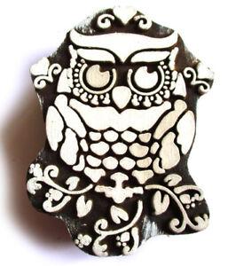 HOLZSTEMPEL-Eule-H-9-cm-UHU-Kauz-Owl-Textilstempel-Indien-Henna-Seifenstempel