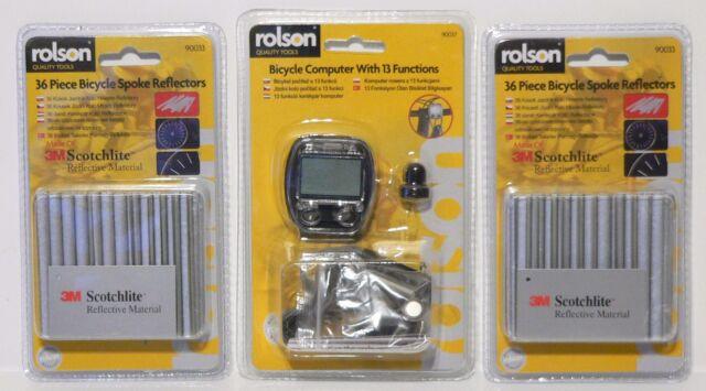 ROLSON 13 Funzione Bicicletta Computer & 72 (2 CONFEZIONI) 3M Scotchlite Ha Parlato Riflettori