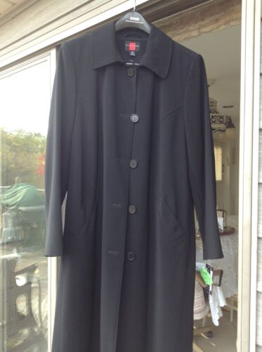 GALLERY, BLACK LONG TRENCH COAT size 9/10 NEW w/tag, removable lining washable