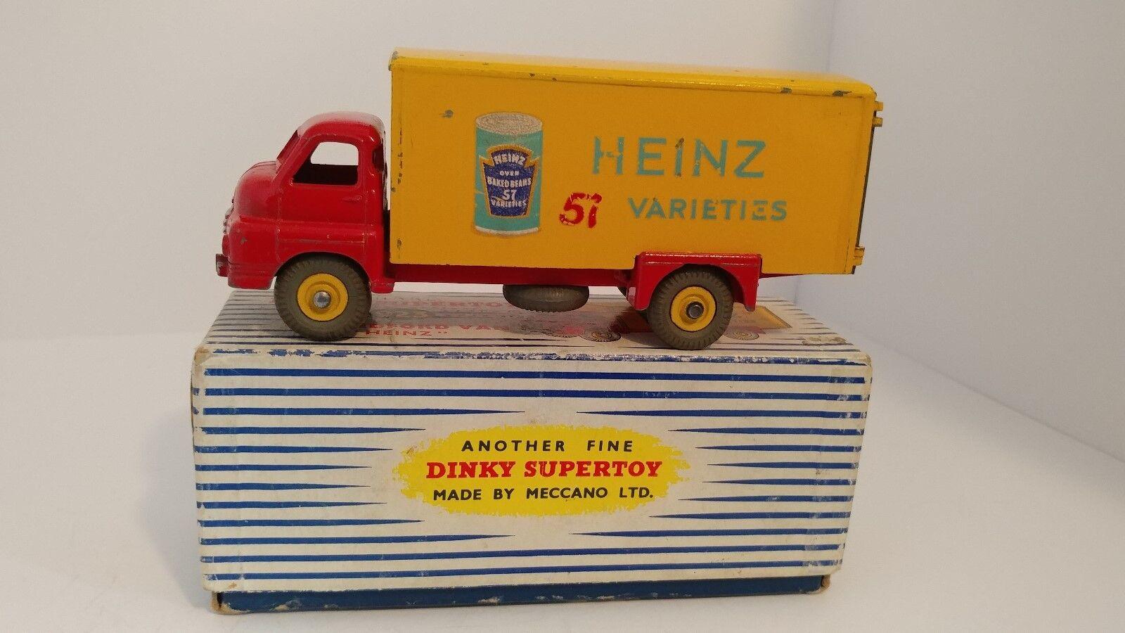 Dinky 923 grandes Bedford VAN HEINZ 1955-1 Vintage Original Caja de camión con