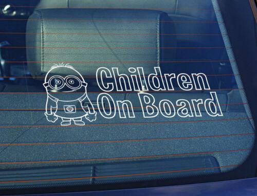 Autocollant Enfants à Bord méprisable Me 100 x 250 mm Le collement électrostatique Fenêtre Voiture Signe