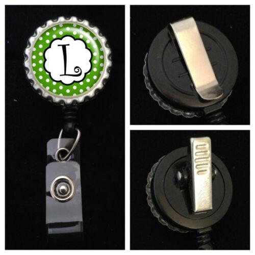 Green Polka Dot Monogrammed Retractable ID Badge Reel