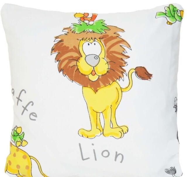 Lion Cushion Cover Elephant Giraffe Zebra Throw Pillow Case Printed Fabric B