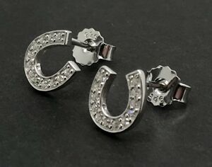 Image Is Loading Solid Sterling Silver Horseshoe Stud Earrings 8mm Cubic