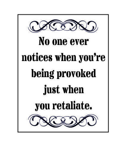 No one ever notices when you/'re being provoked just when metal wall plaque sign