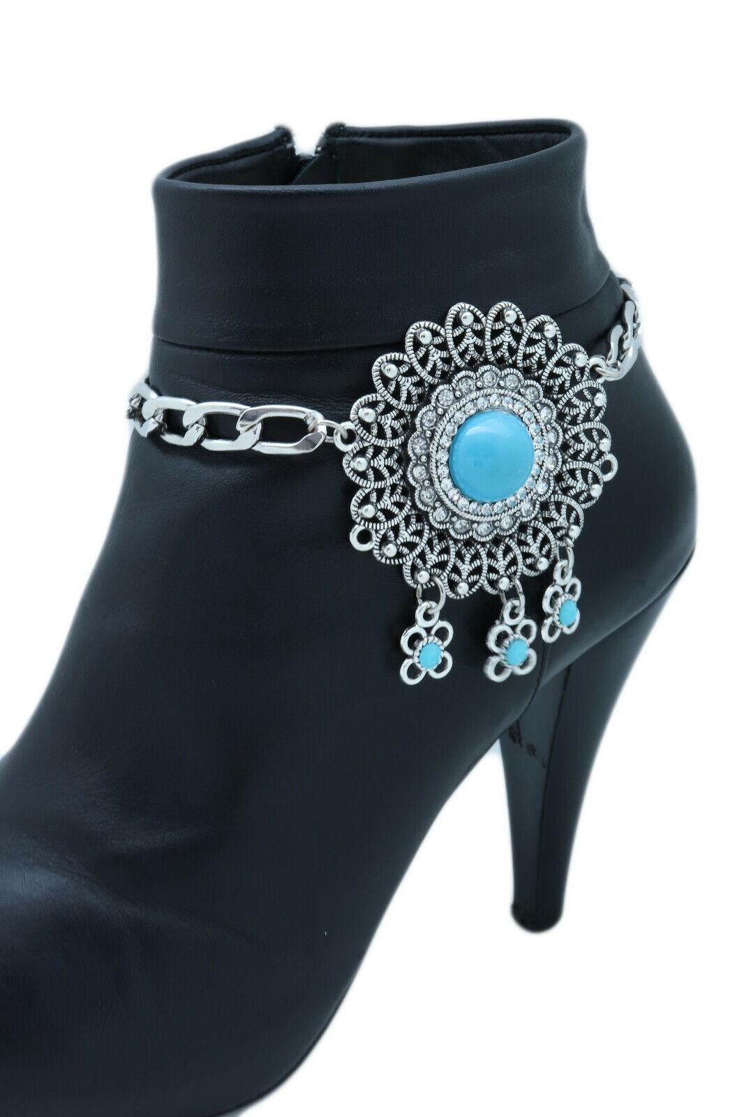 Women Silver Boot Chain Bracelet Shoe Turquoise Color Bohemian Big Flower Charm
