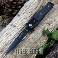 Tac-force All Black Small G10 Handle Spring Assisted Stiletto Folding Knife