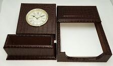 New Croco Leather 3 Pc Desk Set Table Clock Business Card Holder Memo Case