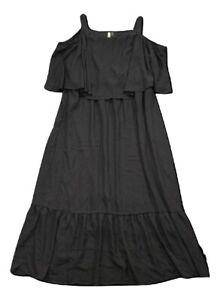 New-70-value-NY-COLLECTION-3XP-Black-Lined-Chiffon-Maxi-Halter-Dress-Peplum-Hem