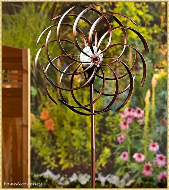 Weather Resistant Double Spiral Solar Lighted Garden Wind Spinner Yard Art  Decor