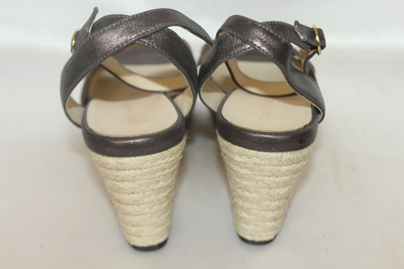 TARYN by TARYN ROSE Pewter Metallic Leder Open Strap Toe Jute Wedge Ankle Strap Open 10 bdfac4