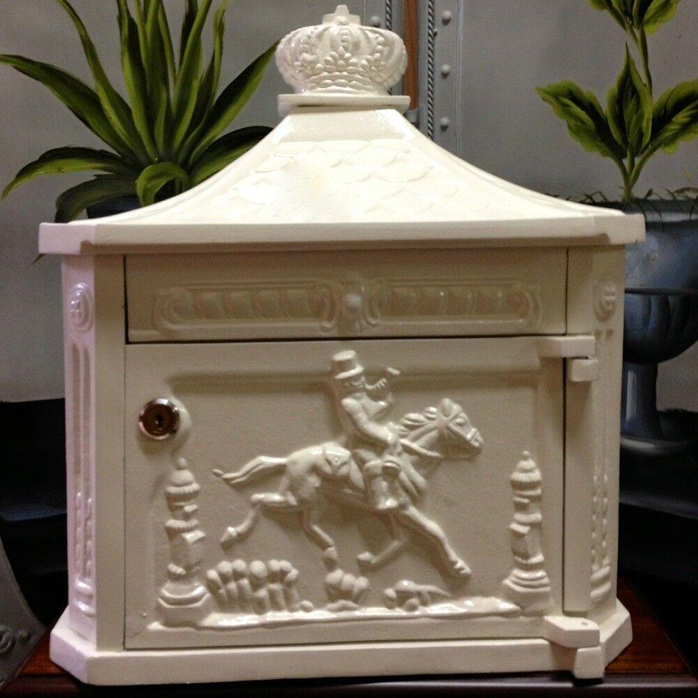 Briefkasten Postillon Wandbriefkasten im historischen Stil - weiß rostfrei Alu