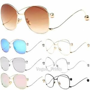 e63a6156e7d Image is loading New-OVERSIZED-Rimless-VINTAGE-Style-Clear-Lens-SUNGLASSES-