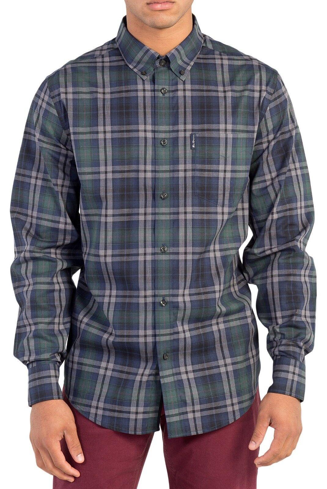 Ben Sherman Check Camicia Regolare Manica Lunga Cotone Cotone Cotone Button Down Dark Ivy verde fba416