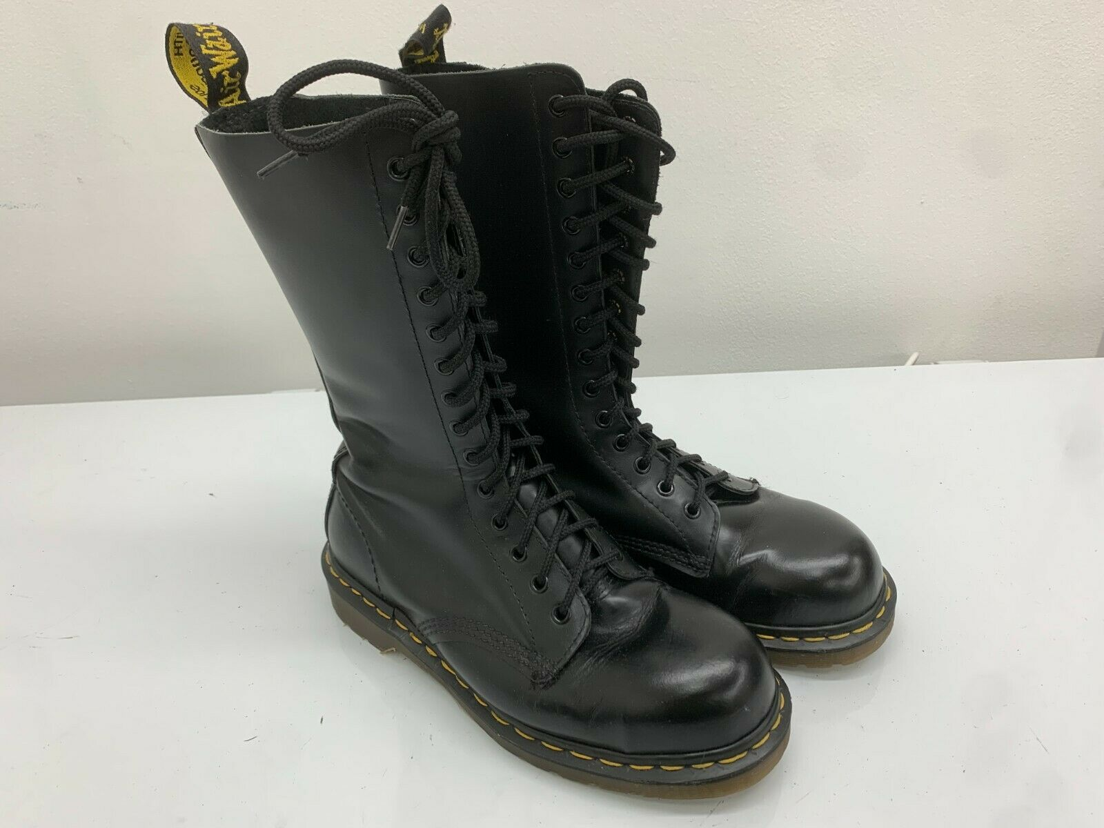 Dr Martens Boots 14 Eyelets Black Leather, Size 7UK, Made In England, Steel Toe