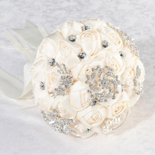 Crystal Flower Bouquet White or Ivory Bridal Bride Wedding Bouquet