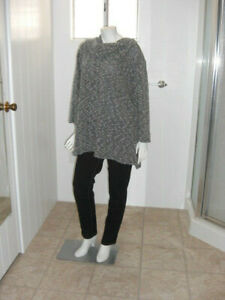 Catherine's Geometric Gray Funnel Collar Pullover Size 3X (26-28W)