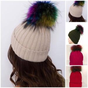 2548023771c Fur Pom Poms For Hat Ladies Women Beanie Winter Hats Cap Raccoon ...