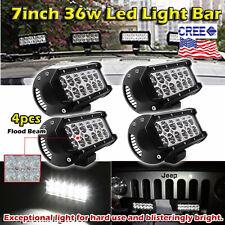 4x 7inch 36w CREE LED Light Bar Work Flood Offroad Driving Bumper SUV Truck Jeep