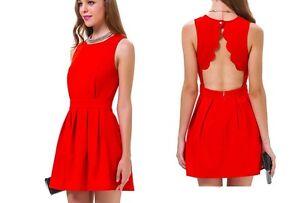check out c5d08 8ff0c Dettagli su vestitino abitino vestito leggero donna estivo colorato rosso  3136