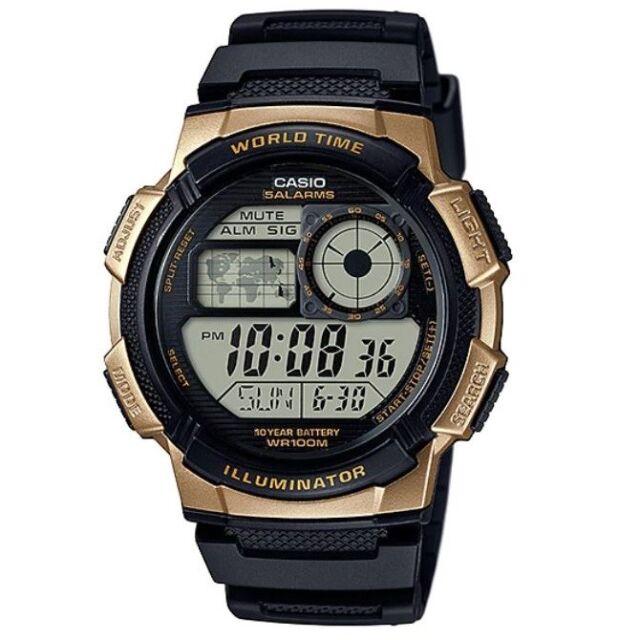 Casio AE-1000W-1A3 Gold Black Youth Series  World Time Digital Sports Watch