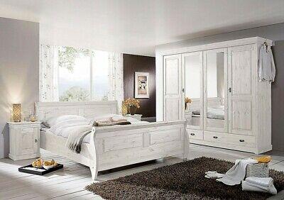 Massivholz Schlafzimmer komplett Set Kiefer massiv weiß NEU Landhaus-stil  möbel | eBay