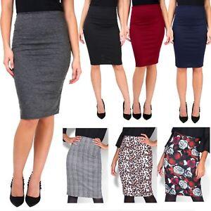 Femmes-Jupe-Taille-Haute-Crayon-Moulante-Imprime-Leopard-a-carreaux-Fleur