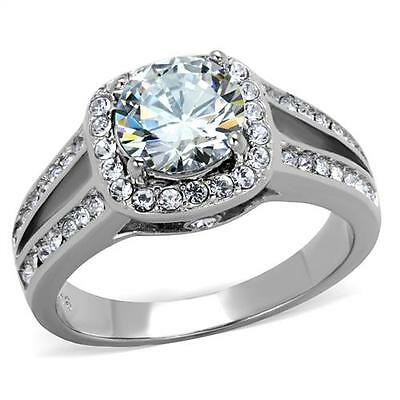 Engagement Ring Band 2.95 Ct Halo Round Cut CZ Stainless Steel Size 5-10