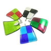 Wholesale Lot 6 Hand-crafted Murano Art Glass Pendants With Silver Plated Bezel