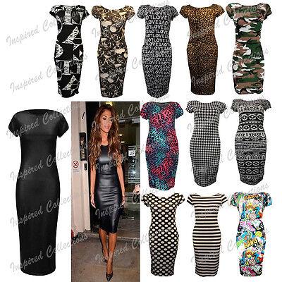 New ladies Womens Short Cap Sleeves Stretch Plain Bodycon Midi Maxi Dress 8-26