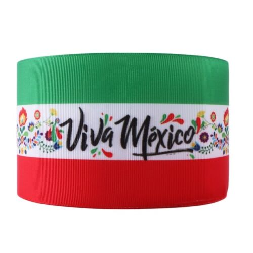 "VIVA Mexico 3/""  grosgrain ribbon the listing is for 2 yards"