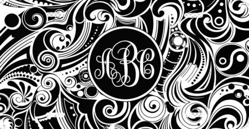 Custom Black /& White Monogrammed License Plate Swirl Print Monogram Car Tag
